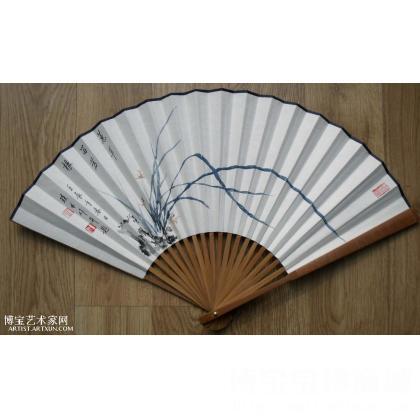 林手工画中国画写意花鸟画立轴作品兰草兰花扇子扇面启功书法写诗